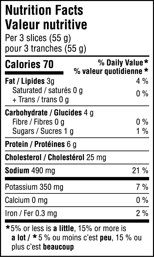 Smoked Ham Nutritional Image