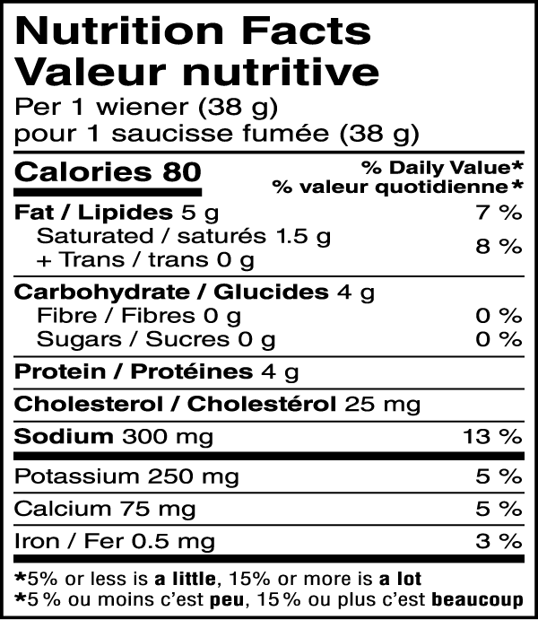 Chicken Wieners Nutritional Image