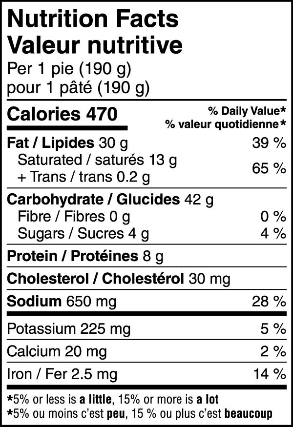 Beef Pot Pie Nutritional Image