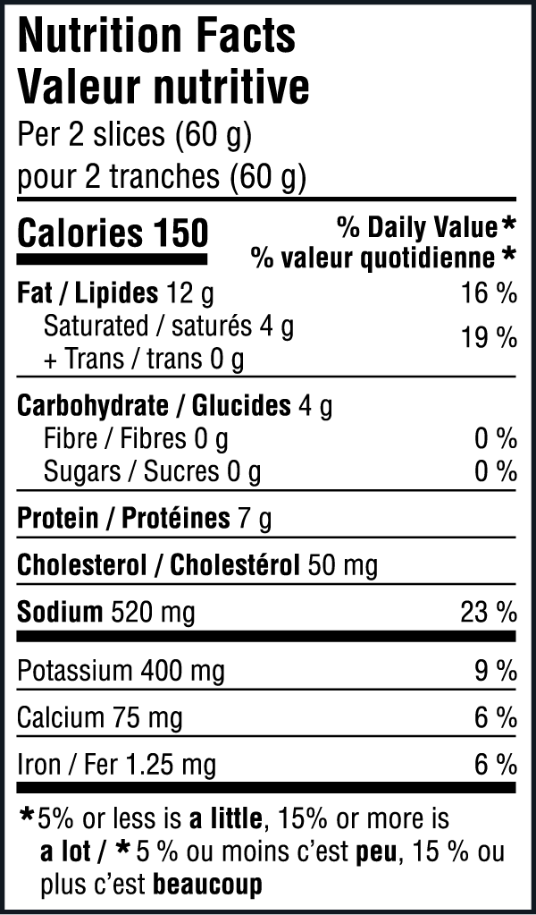 Bologne Nutritional Image