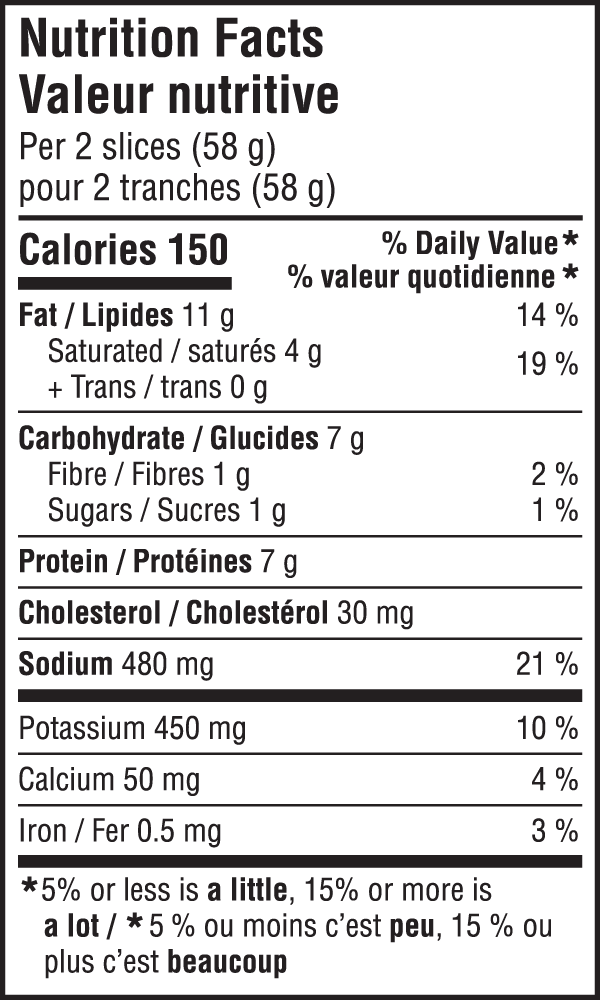 Mac'n Cheese Nutritional Image